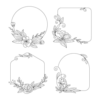 Hand-drawn floral frame collection