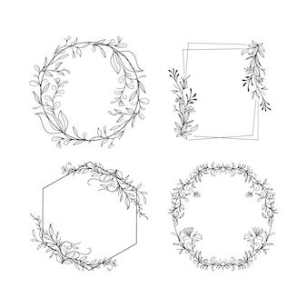 Collezione di cornici floreali disegnate a mano