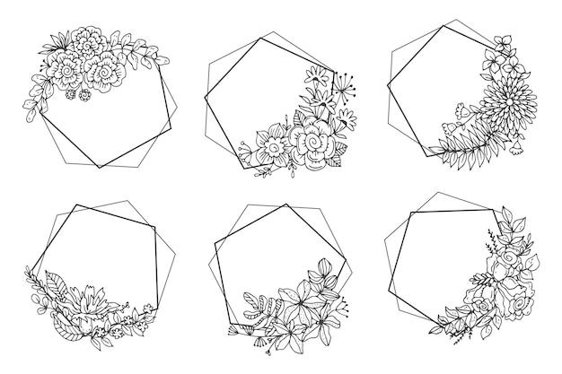 Коллекция рисованной цветочных рамок