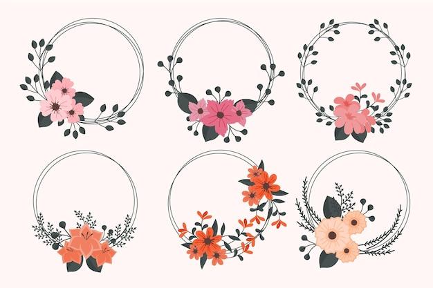 手描きの花のフレームコレクション