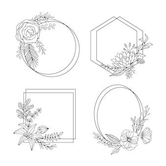 Коллекция рисованной цветочной рамки