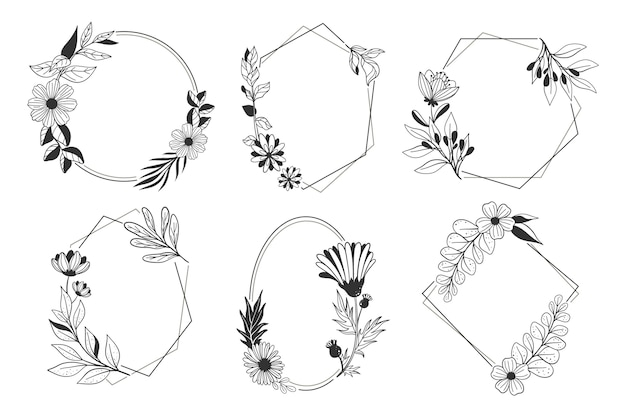 Hand drawn floral frame collection