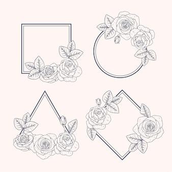 손으로 그린 된 꽃 프레임 컬렉션