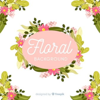 Hand drawn floral frame and corners background