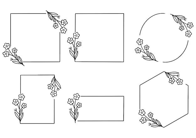 Hand drawn floral frame logo wedding frame invitation card template