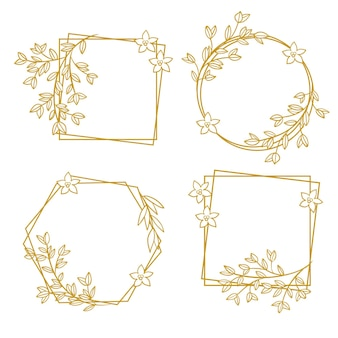 Hand drawn floral frame pack