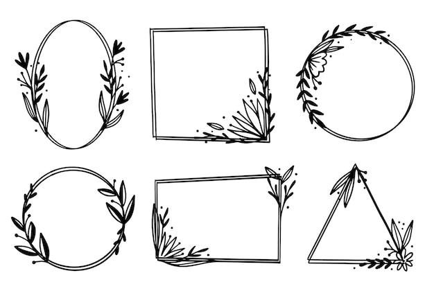 Набор рисованной цветочной рамки