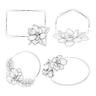 手描き花フレームパック