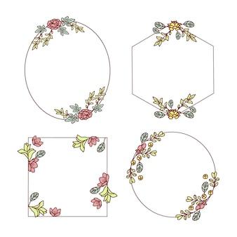 手描き花フレームセット