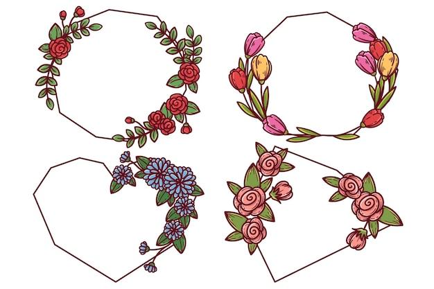 손으로 그린 꽃 프레임 세트