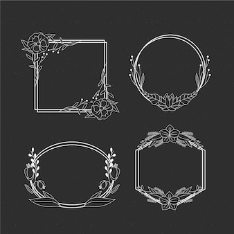 Hand drawn floral frame set