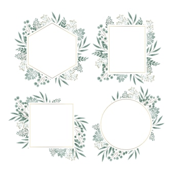 Hand drawn floral frame set