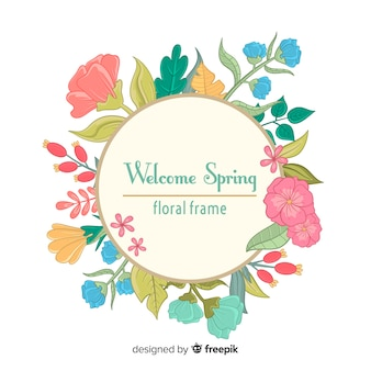 Hand drawn floral frame spring background