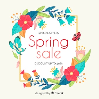 Hand drawn floral frame spring sale backgound