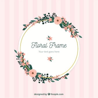 Hand drawn floral frame with circular design