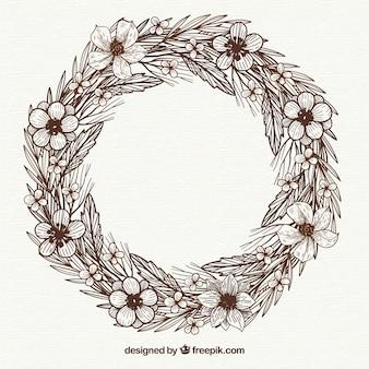 エレガントなスタイルで手描きの花のフレーム