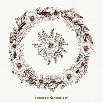 Cornice floreale disegnata a mano con stile elegante