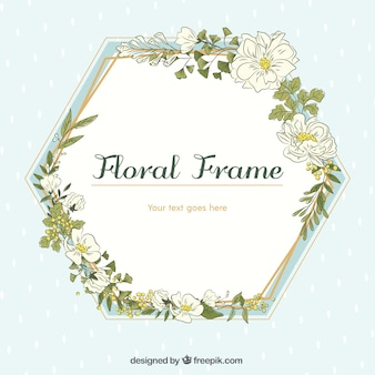 Hand drawn floral frame with geometric design