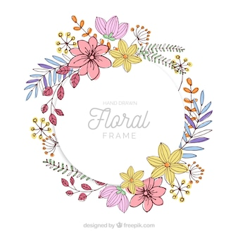 Hand drawn floral frame with lovely style
