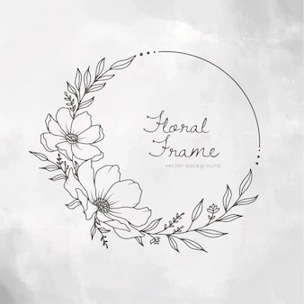 Hand drawn floral frame wreath on white painted background