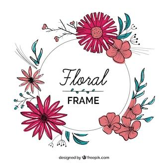 손으로 그린 꽃 프레임
