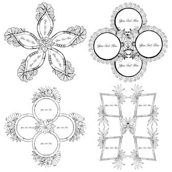 &quot;手描きの花のフレームのコレクション&quot;