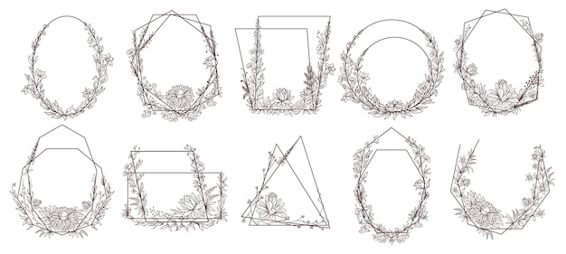 Hand drawn floral geometric frames.