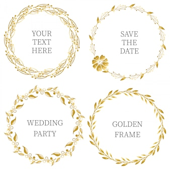 Hand drawn floral golden frame collection