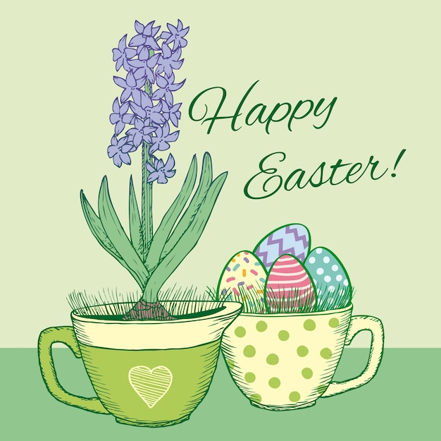 Hand drawn floral happy easter card with blooming natural hyacinth in pot and ornate eggs in mug