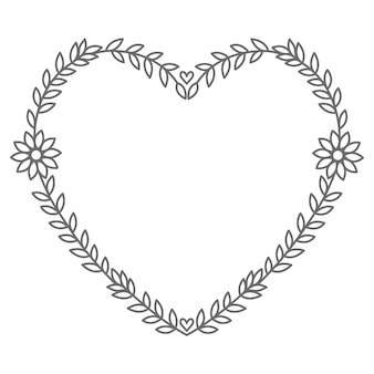 Hand drawn floral   heart illustration for decoration