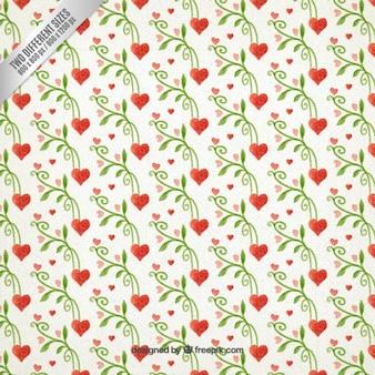 손으로 그린 된 꽃 하트 패턴