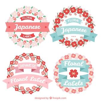 Disegno a mano floreali etichette giapponesi con nastri in stile vintage
