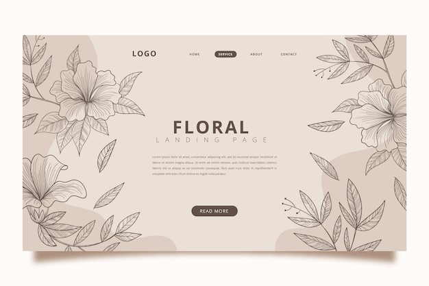 Hand drawn floral landing page template