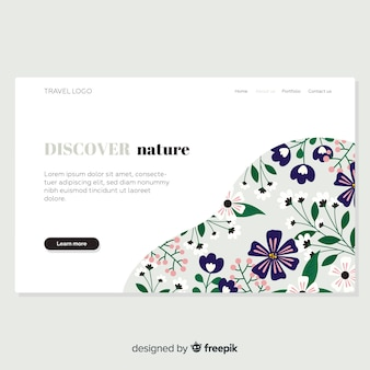 Hand drawn floral landing page