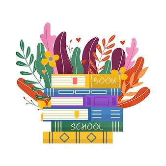 読書クラブの碑文のための手描きの花の葉と本のスタック。招待状とグリーティングカード、プロモーション、版画、チラシ、表紙、ポスター。ベクトルヴィンテージイラスト