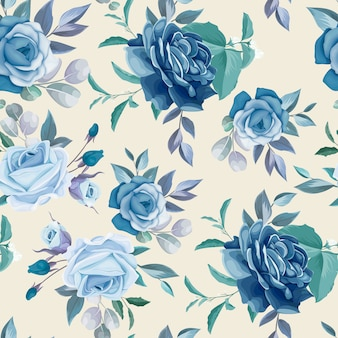 Hand drawn floral and leaves seamless pattern design