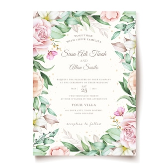 Hand drawn floral and leaves wedding invitation card