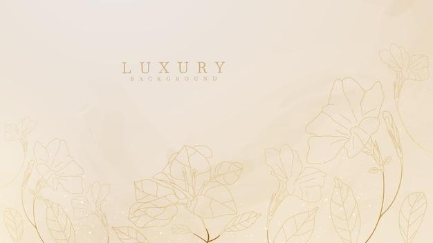 水彩画の背景と手描きの花の線。ラグジュアリースタイルのコンセプト。ベクトルイラスト。