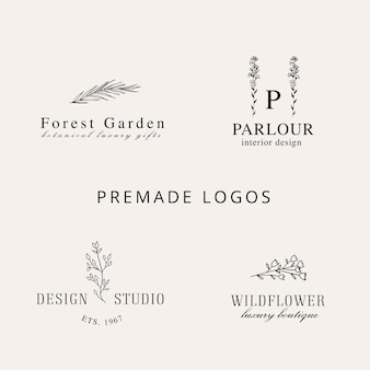 Hand drawn floral logo collection  line art style logo with wildflower plant blossom leaves