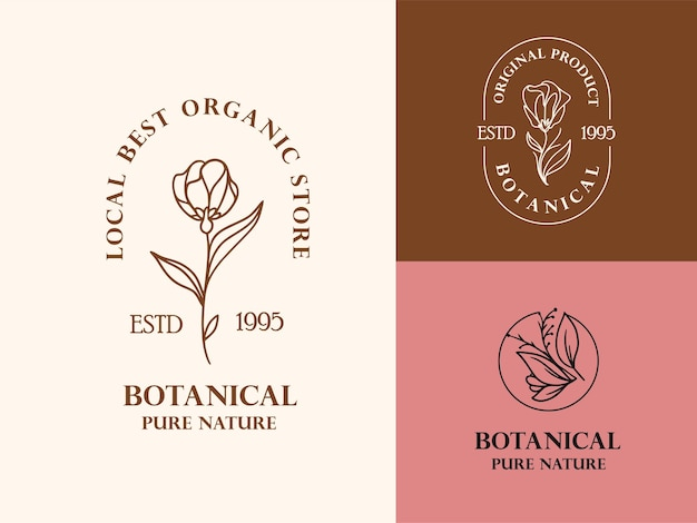 Hand drawn floral logo illustration collection for beauty, natural, organic brand