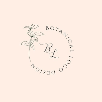Hand drawn floral logo in minimal line art style