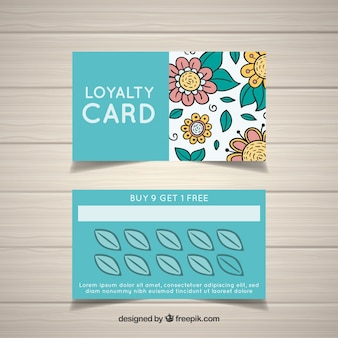 Hand drawn floral loyalty card template