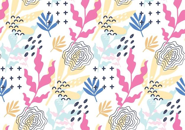 손으로 그린 된 꽃 멤피스 원활한 패턴