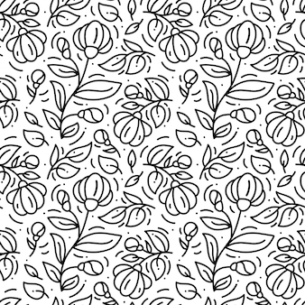 Hand drawn floral monoline pattern