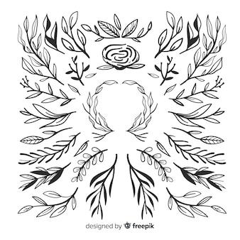 Набор рисованной растительный орнамент