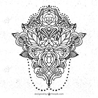 手描きの花の装飾