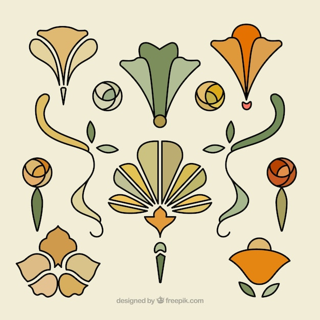 Hand drawn floral ornaments in art nouveau