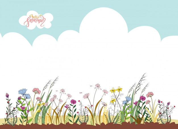 Hand drawn floral ornaments for spring or summer. cute cartoon wild flowers with sky and hello summer lettering