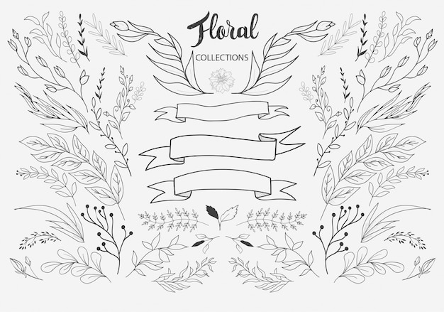 Hand drawn floral ornaments vector