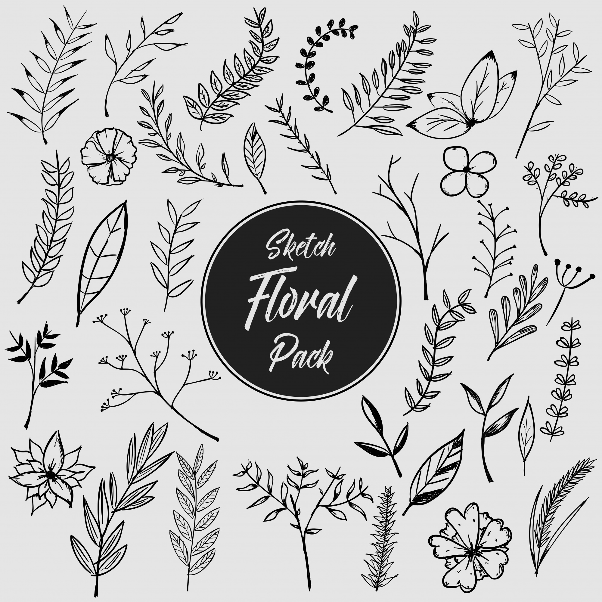 Hand drawn floral pack